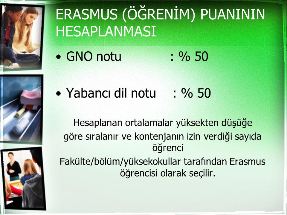 ERASMUS (ÖĞRENİM) PUANININ HESAPLANMASI GNO notu : % 50 Yabancı dil notu : % 50 Hesaplanan ortalamalar yüksekten düşüğe göre sıralanır ve kontenjanın