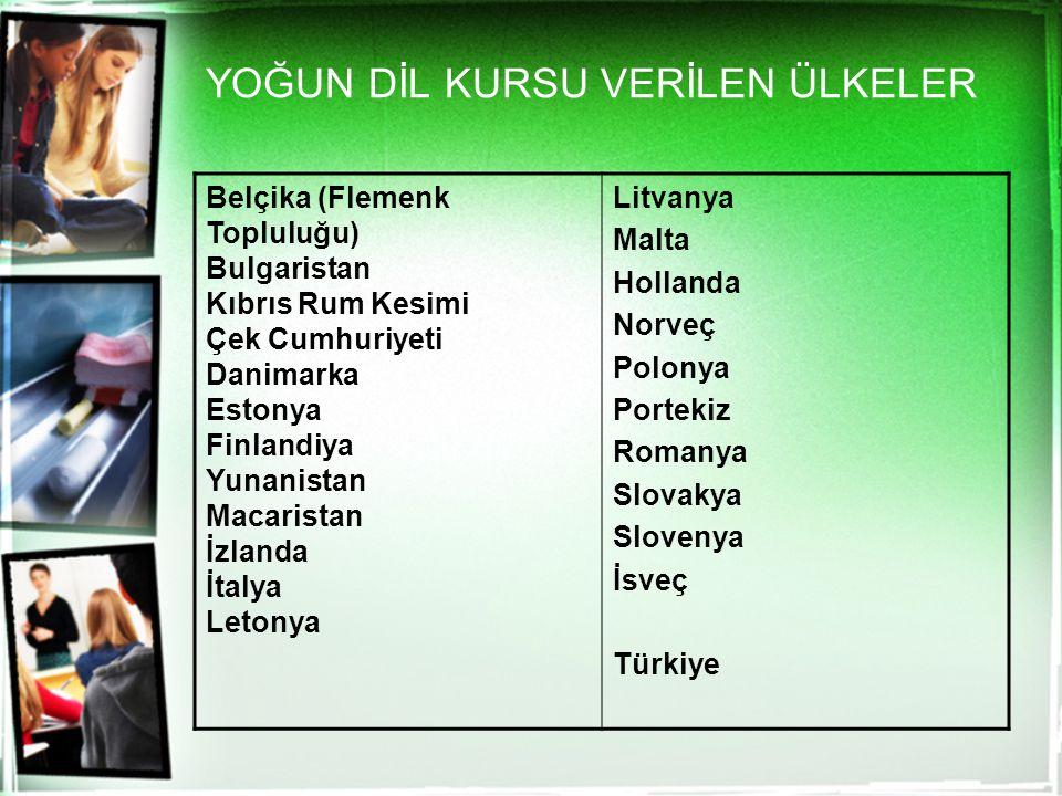 YOĞUN DİL KURSU VERİLEN ÜLKELER Belçika (Flemenk Topluluğu) Bulgaristan Kıbrıs Rum Kesimi Çek Cumhuriyeti Danimarka Estonya Finlandiya Yunanistan Maca