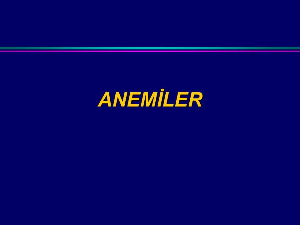 BULGULAR SPESİFİK BULGULAR Kaşık tırnak (DEA) Sarılık (Megaloblastik anemi, hemolitik anemi) Bacak ülserleri (Orak hücreli anemi, diğer hemolitik anemiler) Kemik deformiteleri (Thalassemi major) Sinir sistemi bulguları (Pernisiyöz anemi) Atrofik glossit (DEA, pernisiyöz anemi)
