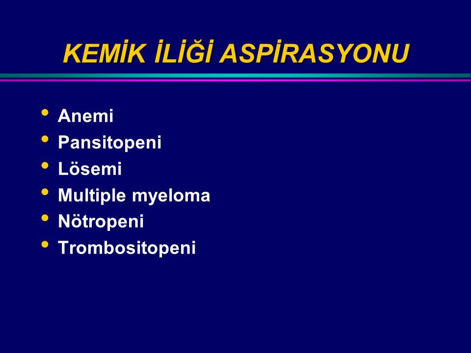 KEMİK İLİĞİ ASPİRASYONU Anemi Pansitopeni Lösemi Multiple myeloma Nötropeni Trombositopeni
