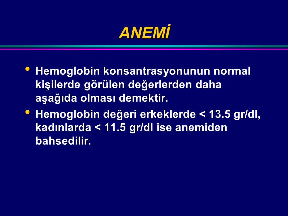 MORFOLOJİYE GÖRE SINIFLANDIRMA (I) Hipokrom mikrositer anemiler MCV < 80 fl MCH < 27 pg Normokrom normositer anemiler MCV 80 – 95 fl MCH > 26 pg Makrositik anemiler MCV > 95 fl