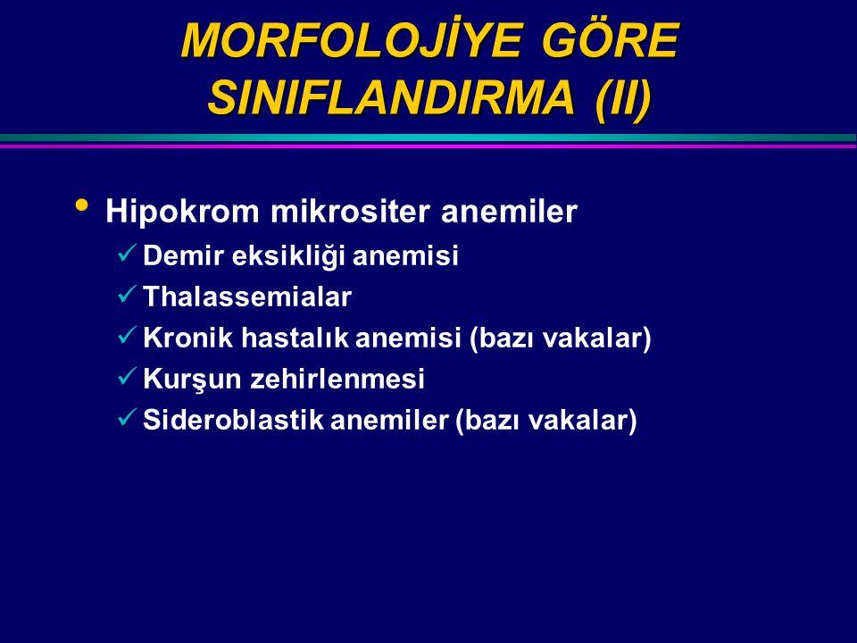 MORFOLOJİYE GÖRE SINIFLANDIRMA (II) Hipokrom mikrositer anemiler Demir eksikliği anemisi Thalassemialar Kronik hastalık anemisi (bazı vakalar) Kurşun zehirlenmesi Sideroblastik anemiler (bazı vakalar)