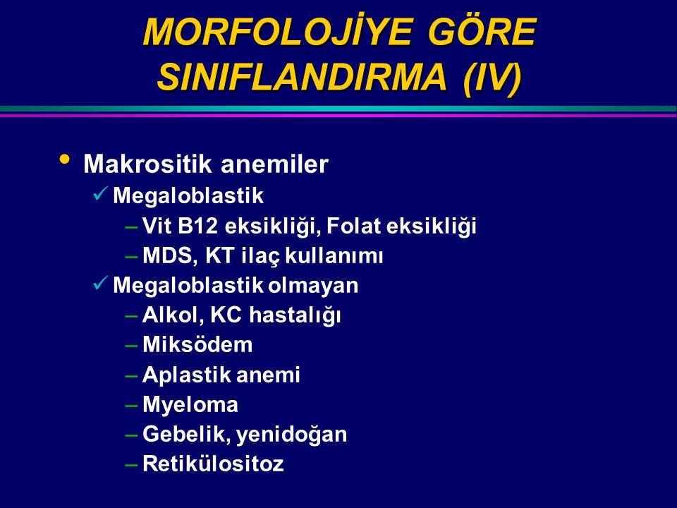 MORFOLOJİYE GÖRE SINIFLANDIRMA (IV) Makrositik anemiler Megaloblastik –Vit B12 eksikliği, Folat eksikliği –MDS, KT ilaç kullanımı Megaloblastik olmaya