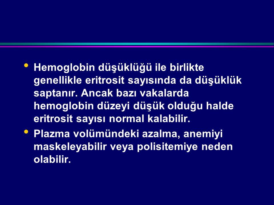 Hemoglobin düşüklüğü ile birlikte genellikle eritrosit sayısında da düşüklük saptanır.