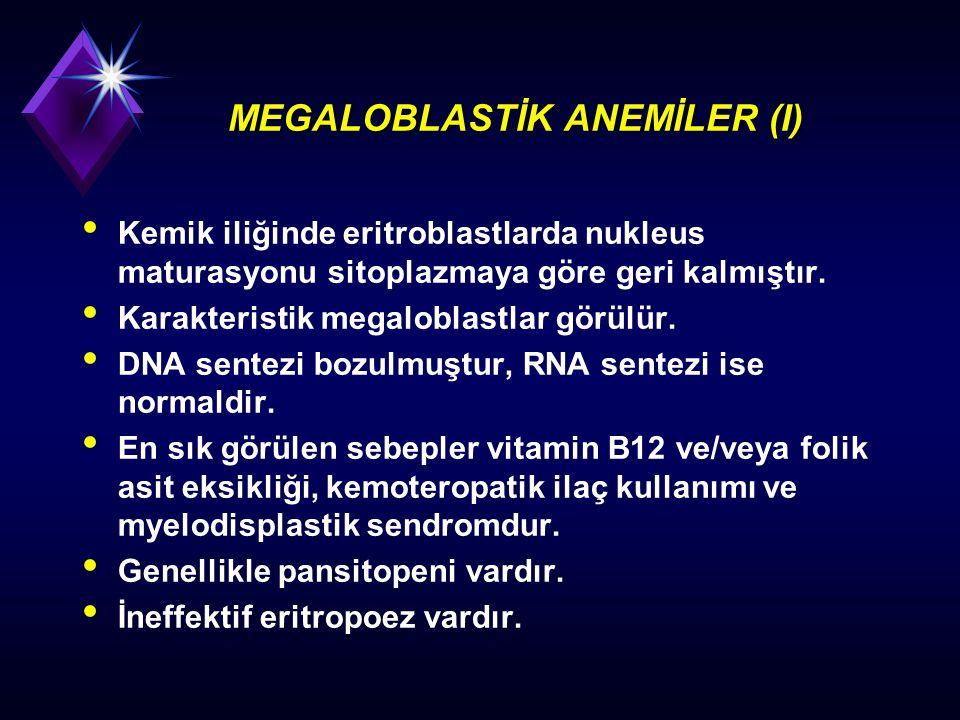 MEGALOBLASTİK ANEMİLER (I) Kemik iliğinde eritroblastlarda nukleus maturasyonu sitoplazmaya göre geri kalmıştır. Karakteristik megaloblastlar görülür.