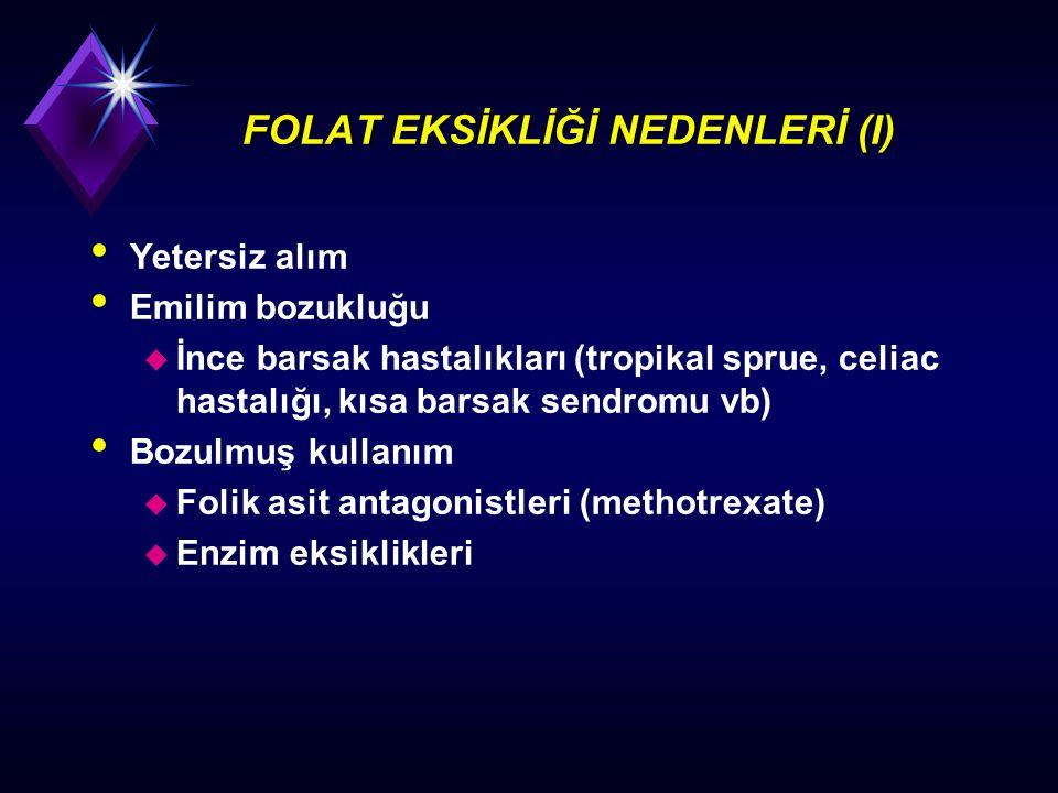 FOLAT EKSİKLİĞİ NEDENLERİ (I) Yetersiz alım Emilim bozukluğu u İnce barsak hastalıkları (tropikal sprue, celiac hastalığı, kısa barsak sendromu vb) Bo