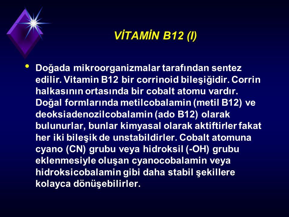 VİTAMİN B12 (I) Doğada mikroorganizmalar tarafından sentez edilir. Vitamin B12 bir corrinoid bileşiğidir. Corrin halkasının ortasında bir cobalt atomu