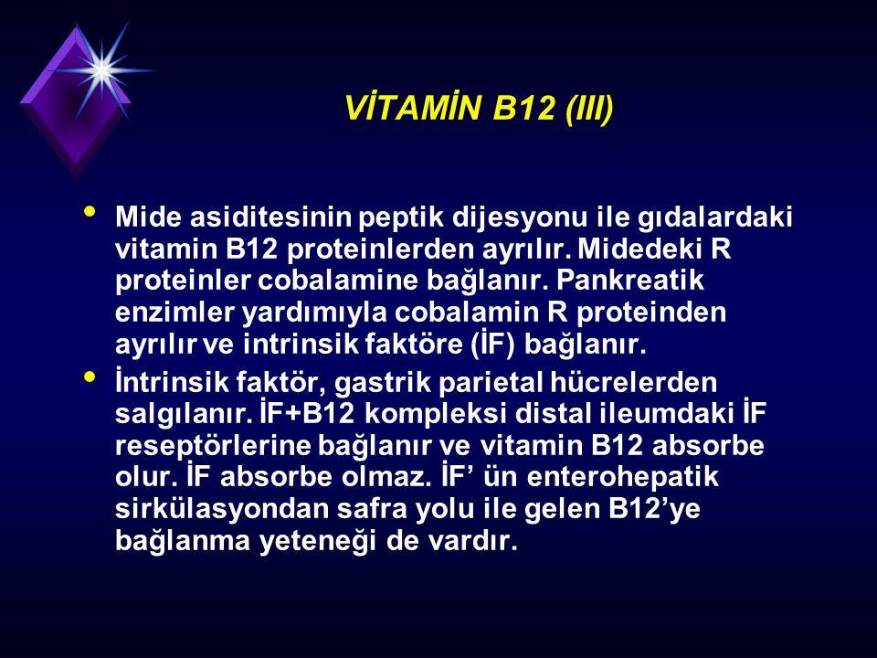 VİTAMİN B12 (III) Mide asiditesinin peptik dijesyonu ile gıdalardaki vitamin B12 proteinlerden ayrılır. Midedeki R proteinler cobalamine bağlanır. Pan