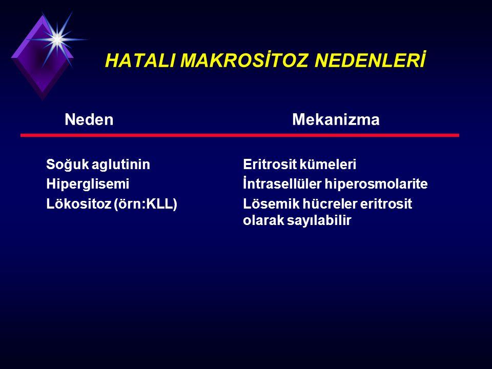 HATALI MAKROSİTOZ NEDENLERİ NedenMekanizma Soğuk aglutininEritrosit kümeleri Hiperglisemiİntrasellüler hiperosmolarite Lökositoz (örn:KLL)Lösemik hücr