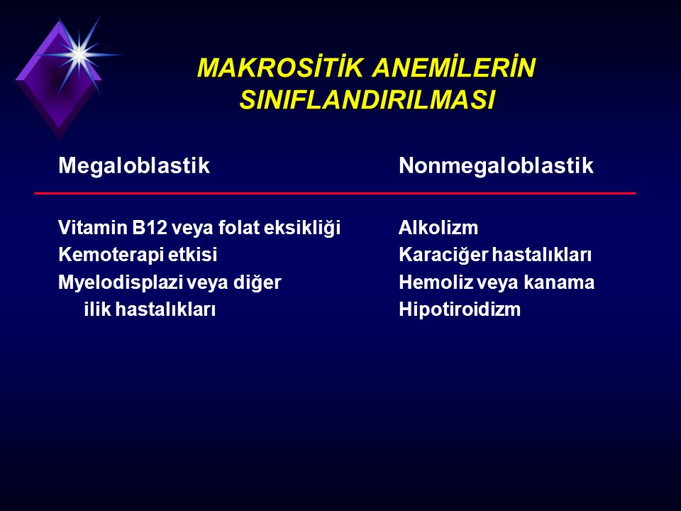 FOLAT EKSİKLİĞİ NEDENLERİ (II) İlaçlar u Antikonvülzanlar, oral kontraseptivler, triamteren, sulfasalazine, sulfamethoxazole- trimethoprim, alkol Gereksinim artışı u Gebelik u Bebeklik ve büyüme u Artmış hücre proliferasyonu (Hemolitik anemi eksfolyatif dermatit)