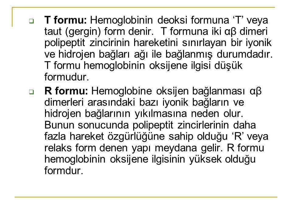 T formu: Hemoglobinin deoksi formuna 'T' veya taut (gergin) form denir. T formuna iki αβ dimeri polipeptit zincirinin hareketini sınırlayan bir iyon