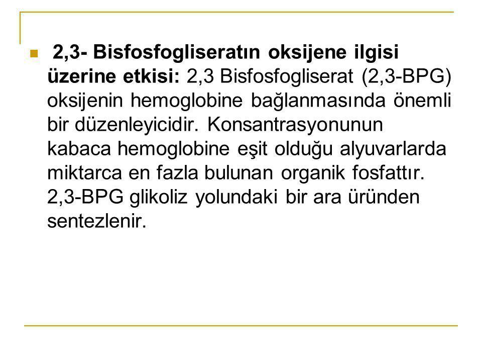 2,3- Bisfosfogliseratın oksijene ilgisi üzerine etkisi: 2,3 Bisfosfogliserat (2,3-BPG) oksijenin hemoglobine bağlanmasında önemli bir düzenleyicidir.