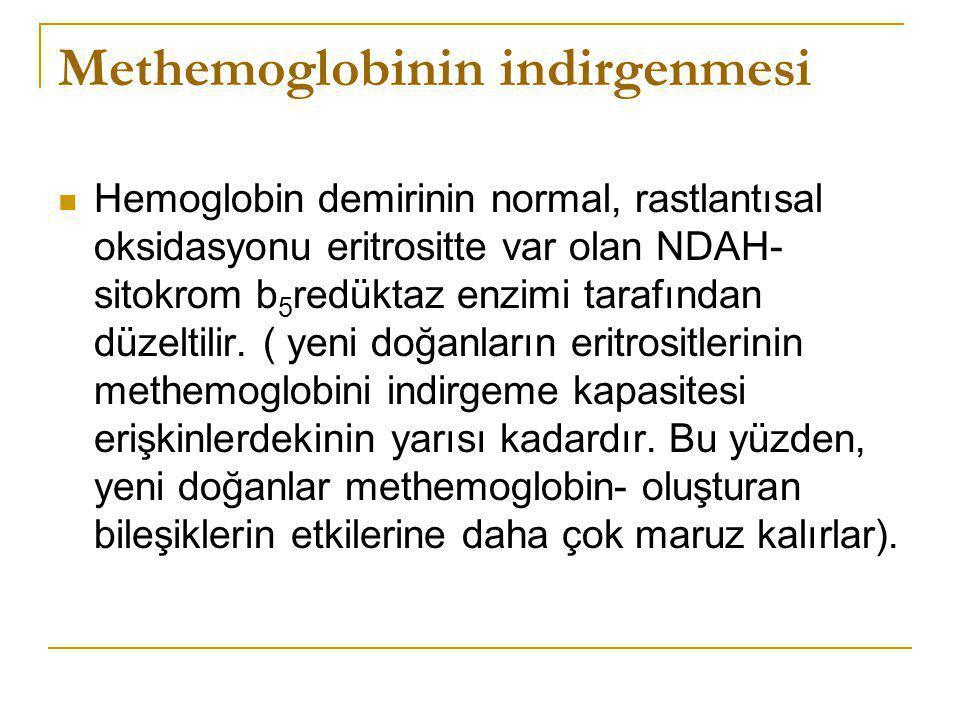 Methemoglobinin indirgenmesi Hemoglobin demirinin normal, rastlantısal oksidasyonu eritrositte var olan NDAH- sitokrom b 5 redüktaz enzimi tarafından