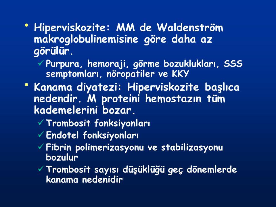 Hiperviskozite: MM de Waldenström makroglobulinemisine göre daha az görülür. Purpura, hemoraji, görme bozuklukları, SSS semptomları, nöropatiler ve KK