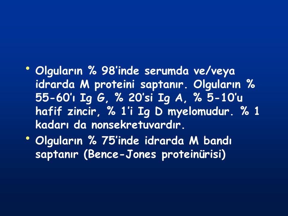 Olguların % 98'inde serumda ve/veya idrarda M proteini saptanır. Olguların % 55-60'ı Ig G, % 20'si Ig A, % 5-10'u hafif zincir, % 1'i Ig D myelomudur.