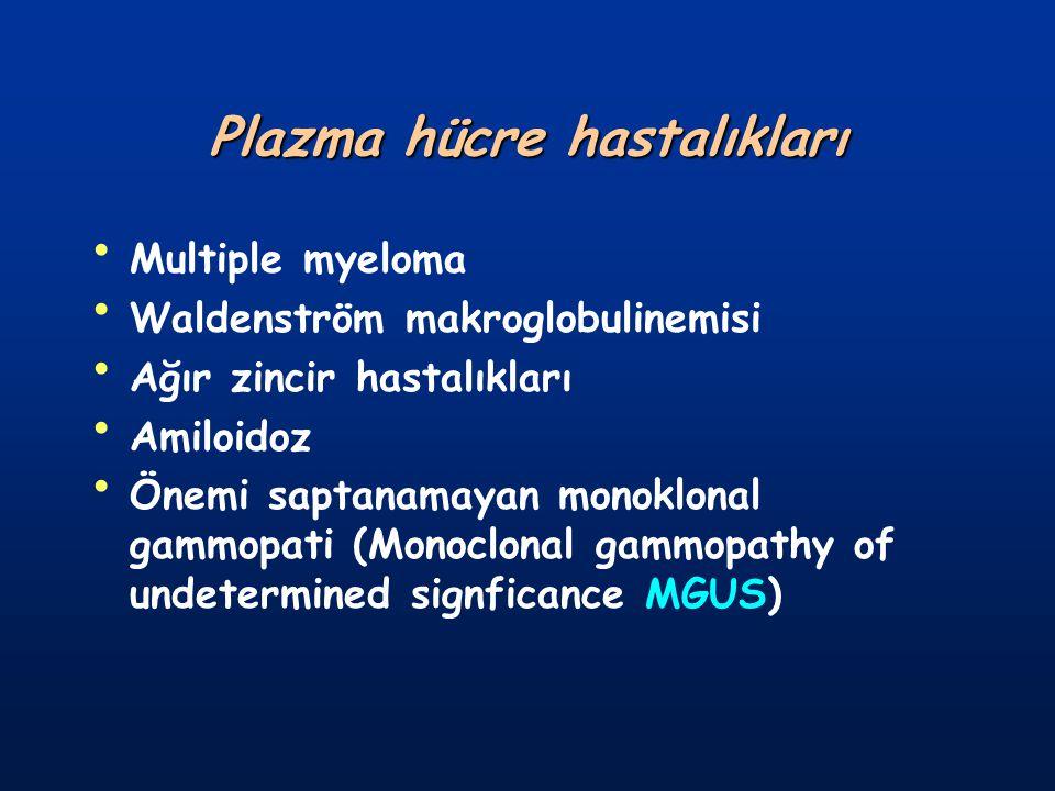 Serumda <2gr/dl M proteini vardır Kİ de plazma hücresi <%10 Bence-Jones proteinürisi yok veya çok azdır Kemik lezyonları yoktur Böbrek fonksiyonları normal, anemi yoktur, hiperkalsemi yoktur Hastaların %20'si aynı konumda kalır, % 24'ü MM, WM veya amiloidozis gibi ilişkili bir hastalığa dönüşüm gösterir.
