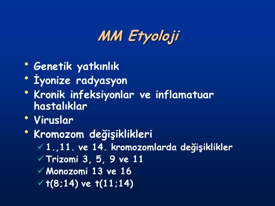 EVRELEME (Durie-Salmon) Evre I: (Tahmini tümör kitlesi <0.6X10 12 /m 2 ) Hb:>10.5gr/dl veya Htc:>%32 Serum kalsiyum düzeyi normal IgG <5gr/dl, IgA <3gr/dl, Bence-Jones <4gr/24 saat Kemik lezyonu veya osteoporoz yok Evre II: (Tahmini tümör kitlesi 0.6-1.2X10 12 /m 2 ) Evre I-III arası değerlerin bulunması Evre III: (Tahmini tümör kitlesi >1.2X10 12 /m 2 ).