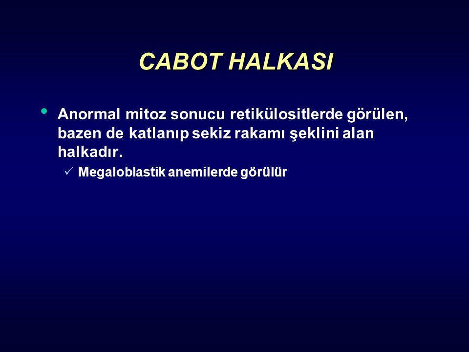 CABOT HALKASI Anormal mitoz sonucu retikülositlerde görülen, bazen de katlanıp sekiz rakamı şeklini alan halkadır. Megaloblastik anemilerde görülür