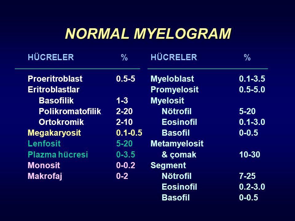 NORMAL MYELOGRAM HÜCRELER % Proeritroblast0.5-5 Eritroblastlar Basofilik1-3 Polikromatofilik2-20 Ortokromik2-10 Megakaryosit0.1-0.5 Lenfosit5-20 Plazm