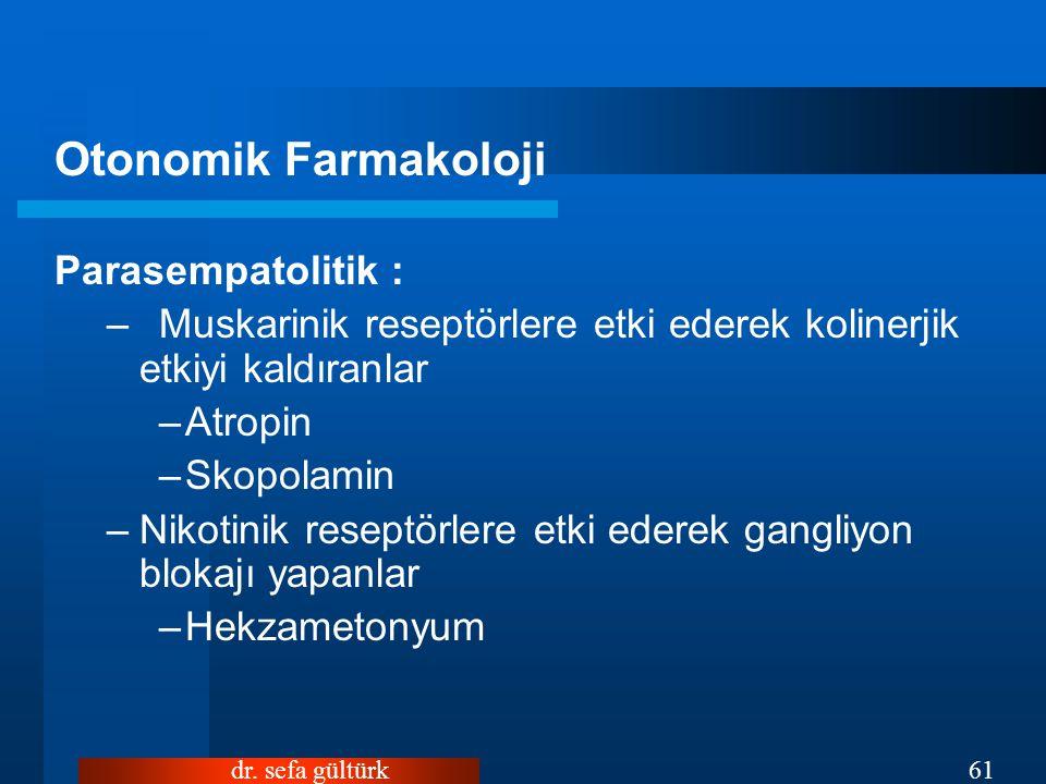 dr. sefa gültürk61 Otonomik Farmakoloji Parasempatolitik : –Muskarinik reseptörlere etki ederek kolinerjik etkiyi kaldıranlar –Atropin –Skopolamin –Ni