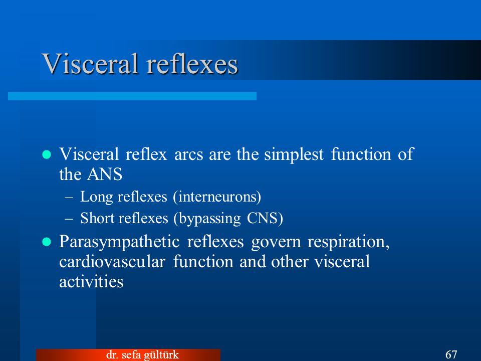 dr. sefa gültürk67 Visceral reflex arcs are the simplest function of the ANS –Long reflexes (interneurons) –Short reflexes (bypassing CNS) Parasympath