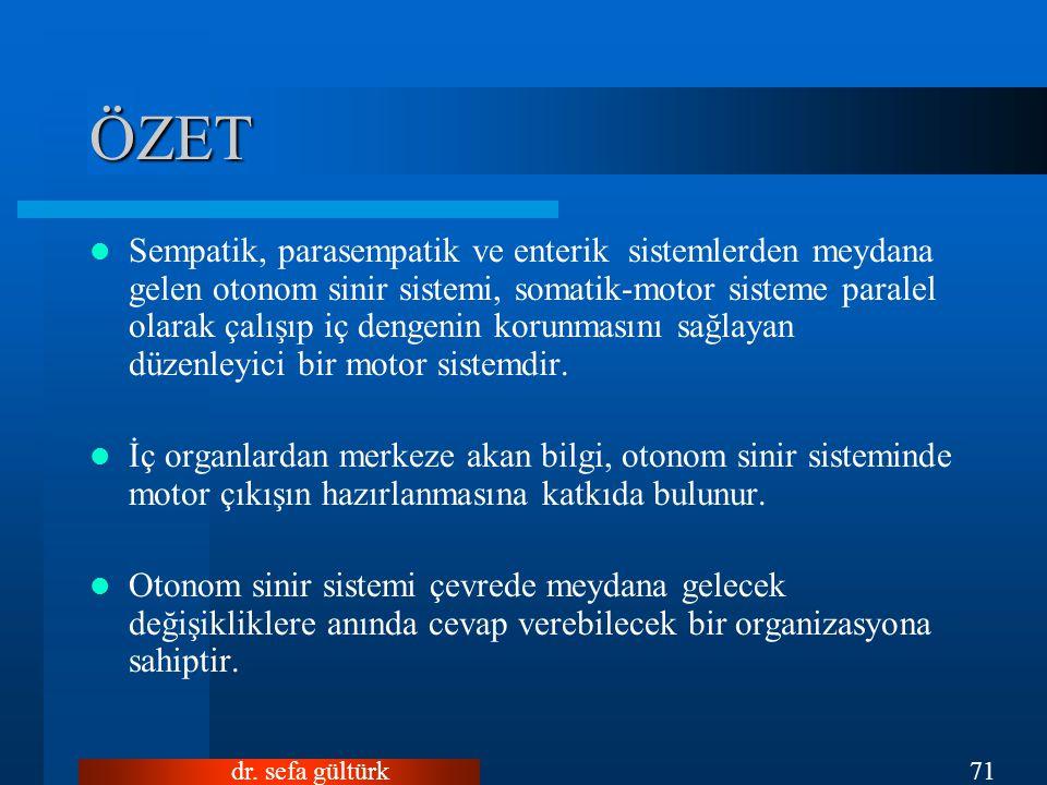 dr. sefa gültürk71 ÖZET Sempatik, parasempatik ve enterik sistemlerden meydana gelen otonom sinir sistemi, somatik-motor sisteme paralel olarak çalışı