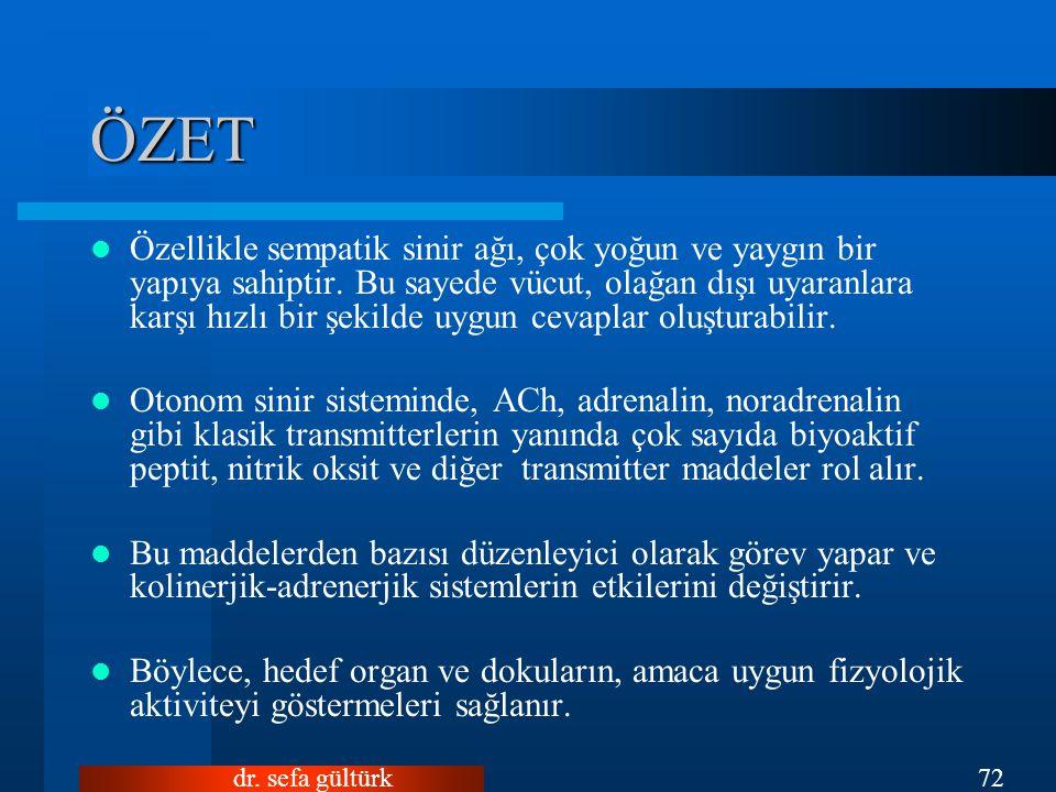 dr.sefa gültürk72 ÖZET Özellikle sempatik sinir ağı, çok yoğun ve yaygın bir yapıya sahiptir.