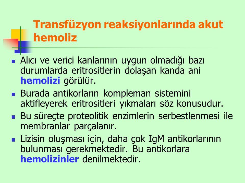 Transfüzyon reaksiyonlarında akut hemoliz Alıcı ve verici kanlarının uygun olmadığı bazı durumlarda eritrositlerin dolaşan kanda ani hemolizi görülür.