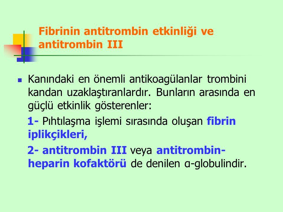 Fibrinin antitrombin etkinliği ve antitrombin III Kanındaki en önemli antikoagülanlar trombini kandan uzaklaştıranlardır. Bunların arasında en güçlü e