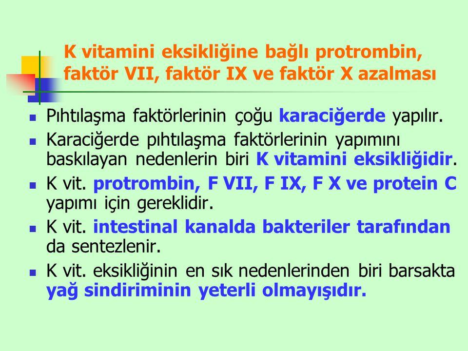 K vitamini eksikliğine bağlı protrombin, faktör VII, faktör IX ve faktör X azalması Pıhtılaşma faktörlerinin çoğu karaciğerde yapılır. Karaciğerde pıh