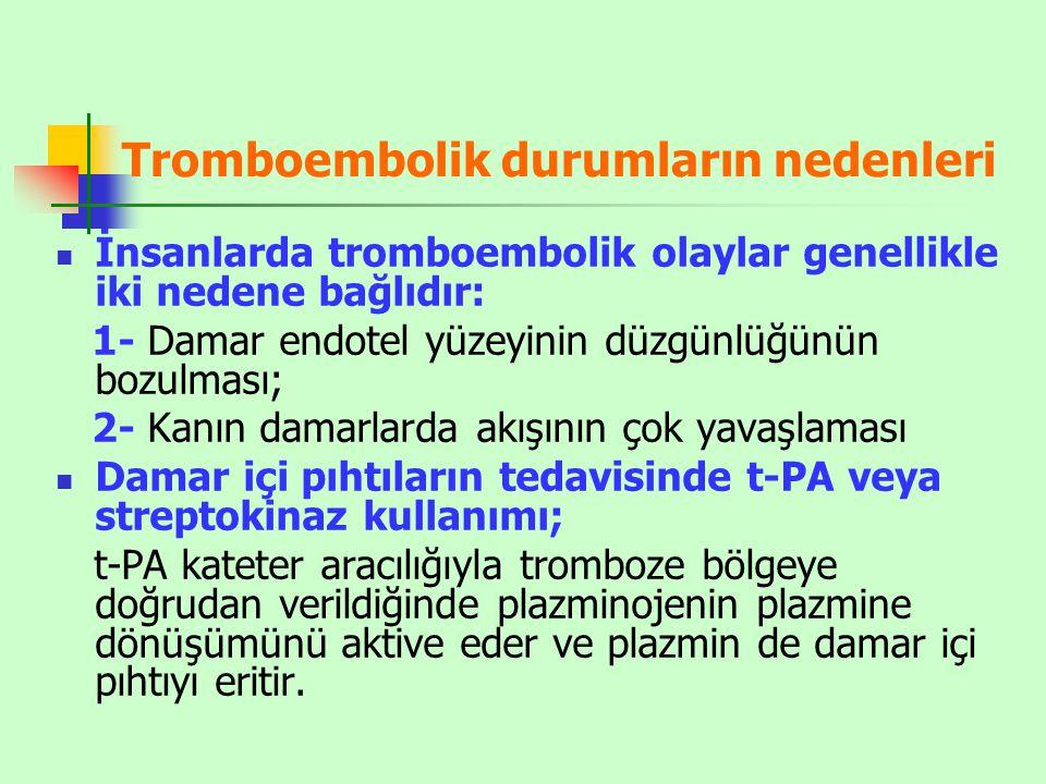 Tromboembolik durumların nedenleri İnsanlarda tromboembolik olaylar genellikle iki nedene bağlıdır: 1- Damar endotel yüzeyinin düzgünlüğünün bozulması