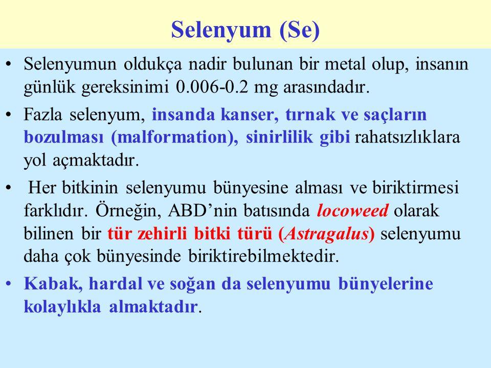 Selenyum (Se) Selenyumun oldukça nadir bulunan bir metal olup, insanın günlük gereksinimi 0.006-0.2 mg arasındadır.