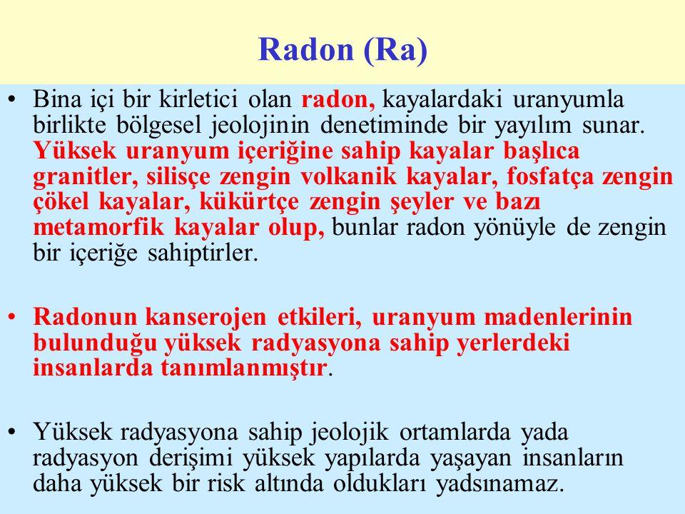 Radon (Ra) Bina içi bir kirletici olan radon, kayalardaki uranyumla birlikte bölgesel jeolojinin denetiminde bir yayılım sunar.