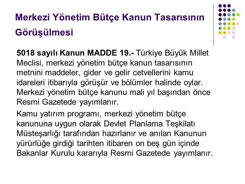 Merkezi Yönetim Bütçe Kanun Tasarısının Görüşülmesi 5018 sayılı Kanun MADDE 19.- Türkiye Büyük Millet Meclisi, merkezi yönetim bütçe kanun tasarısının metnini maddeler, gider ve gelir cetvellerini kamu idareleri itibarıyla görüşür ve bölümler halinde oylar.