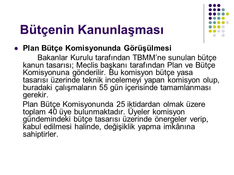 Bütçenin Kanunlaşması Plan Bütçe Komisyonunda Görüşülmesi Bakanlar Kurulu tarafından TBMM'ne sunulan bütçe kanun tasarısı; Meclis başkanı tarafından Plan ve Bütçe Komisyonuna gönderilir.