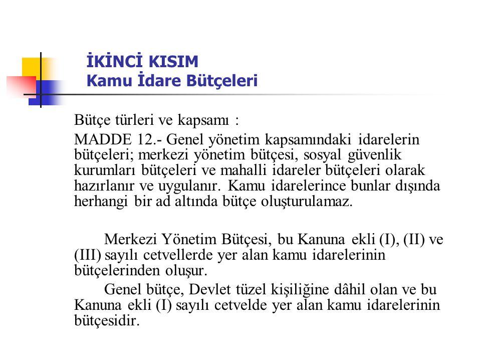 İKİNCİ KISIM Kamu İdare Bütçeleri Bütçe türleri ve kapsamı : MADDE 12.- Genel yönetim kapsamındaki idarelerin bütçeleri; merkezi yönetim bütçesi, sosy