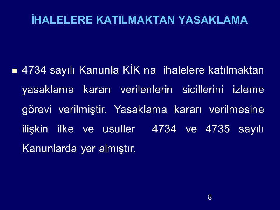 İHALELERE KATILMAKTAN YASAKLAMA 4734 sayılı Kanunla KİK na ihalelere katılmaktan yasaklama kararı verilenlerin sicillerini izleme görevi verilmiştir.