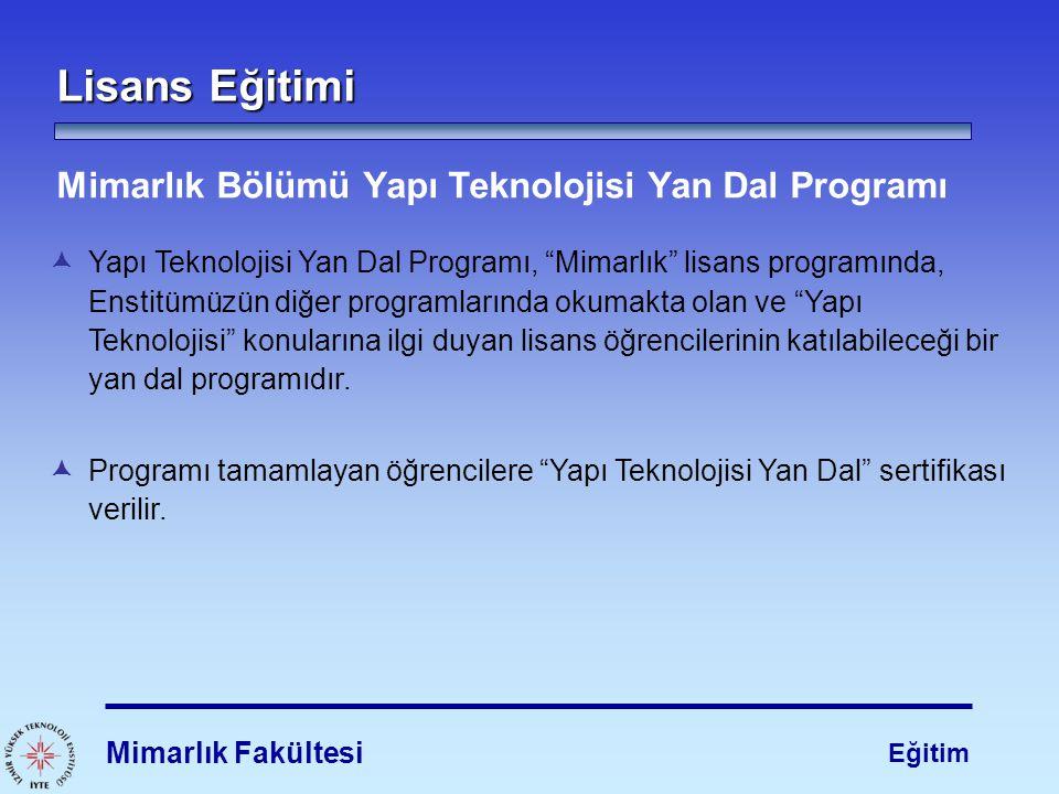 """Lisans Eğitimi  Yapı Teknolojisi Yan Dal Programı, """"Mimarlık"""" lisans programında, Enstitümüzün diğer programlarında okumakta olan ve """"Yapı Teknolojis"""