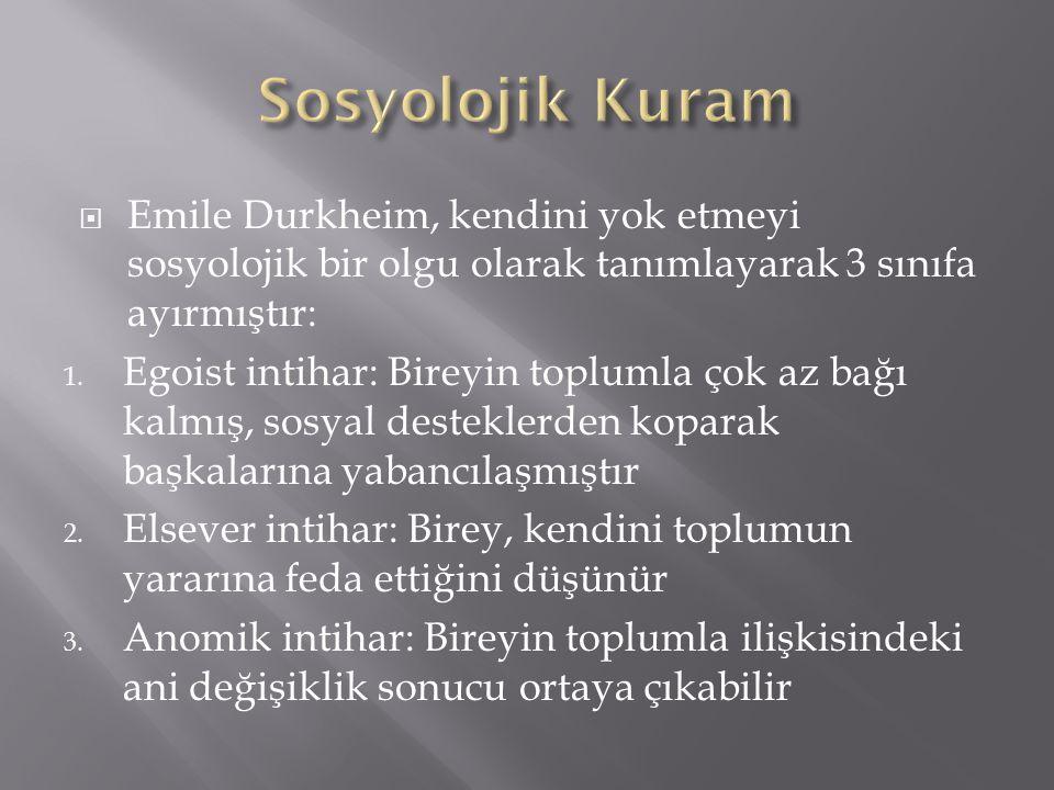  Emile Durkheim, kendini yok etmeyi sosyolojik bir olgu olarak tanımlayarak 3 sınıfa ayırmıştır: 1.