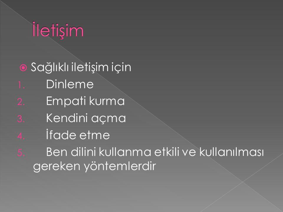  Sağlıklı iletişim için 1. Dinleme 2. Empati kurma 3. Kendini açma 4. İfade etme 5. Ben dilini kullanma etkili ve kullanılması gereken yöntemlerdir
