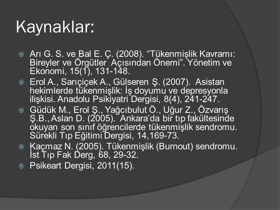 """Kaynaklar:  Arı G. S. ve Bal E. Ç. (2008). """"Tükenmişlik Kavramı: Bireyler ve Örgütler Açısından Önemi"""". Yönetim ve Ekonomi, 15(1), 131-148.  Erol A."""