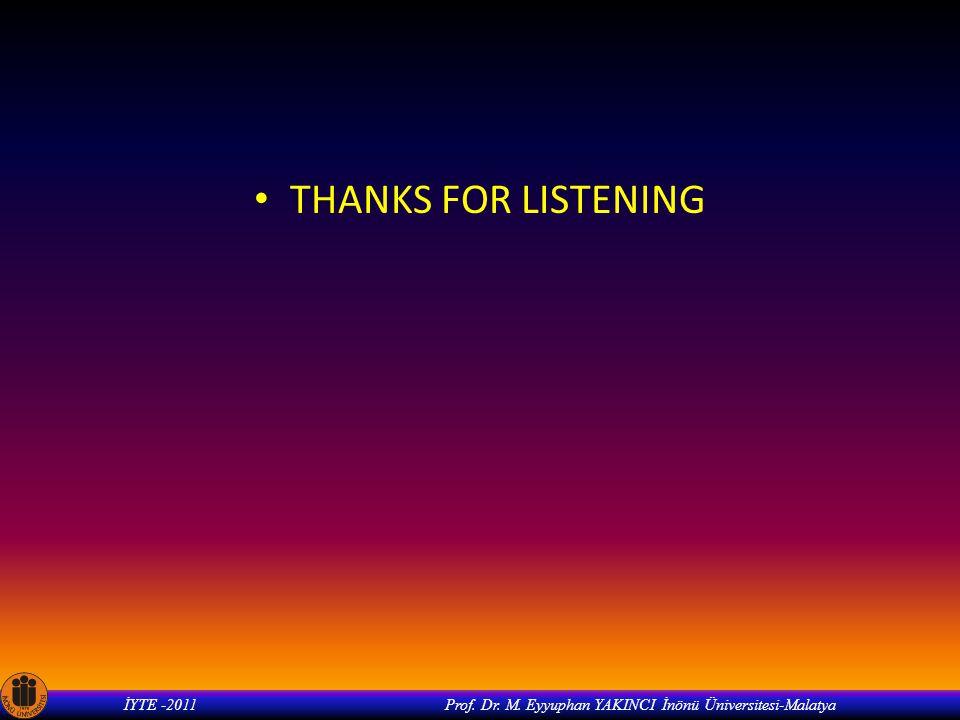 İYTE -2011 Prof. Dr. M. Eyyuphan YAKINCI İnönü Üniversitesi-Malatya THANKS FOR LISTENING