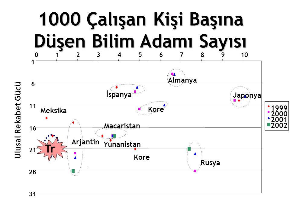 1000 Çalışan Kişi Başına Düşen Bilim Adamı Sayısı