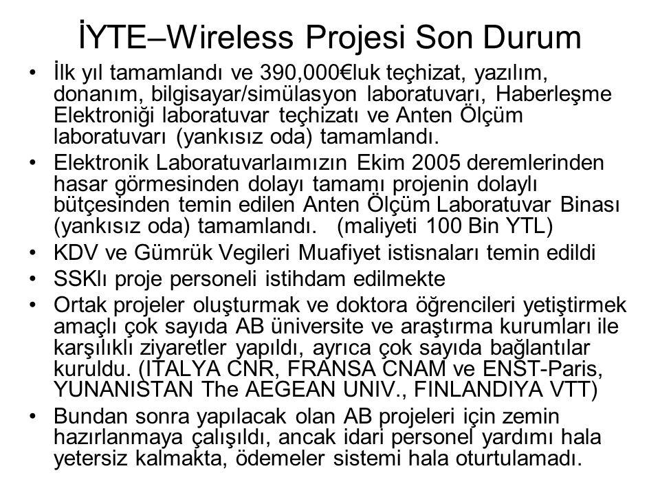 İYTE–Wireless Projesi Son Durum İlk yıl tamamlandı ve 390,000€luk teçhizat, yazılım, donanım, bilgisayar/simülasyon laboratuvarı, Haberleşme Elektroni