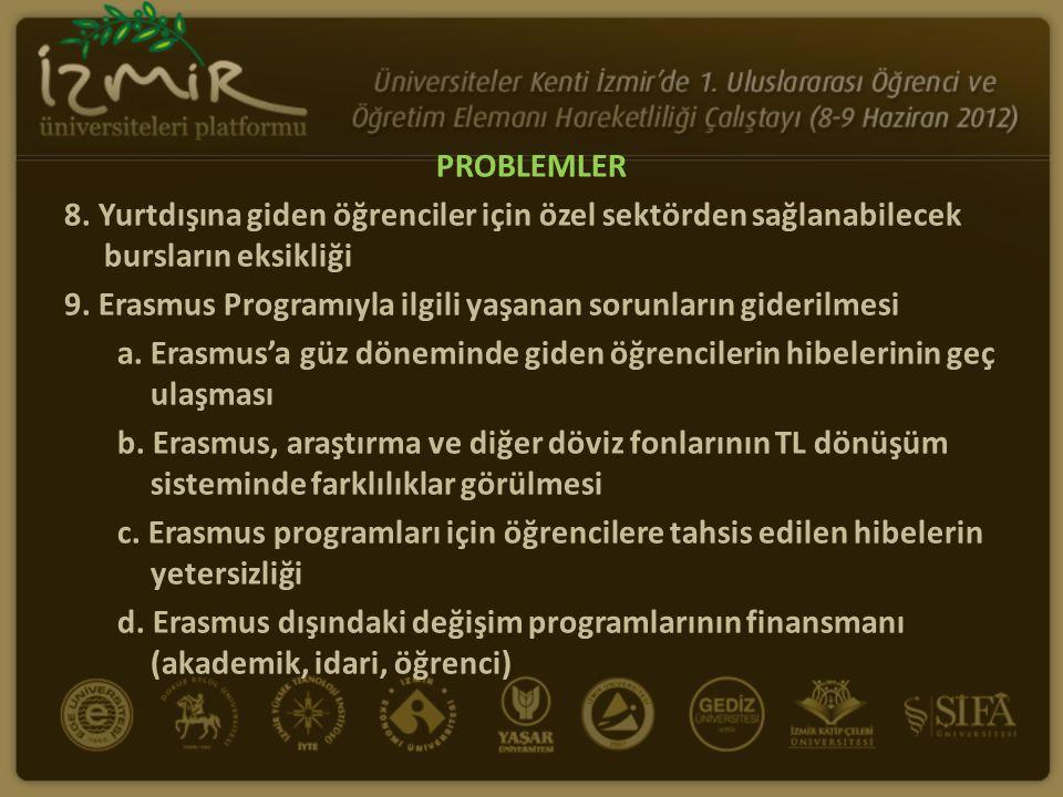 PROBLEMLER 8. Yurtdışına giden öğrenciler için özel sektörden sağlanabilecek bursların eksikliği 9. Erasmus Programıyla ilgili yaşanan sorunların gide