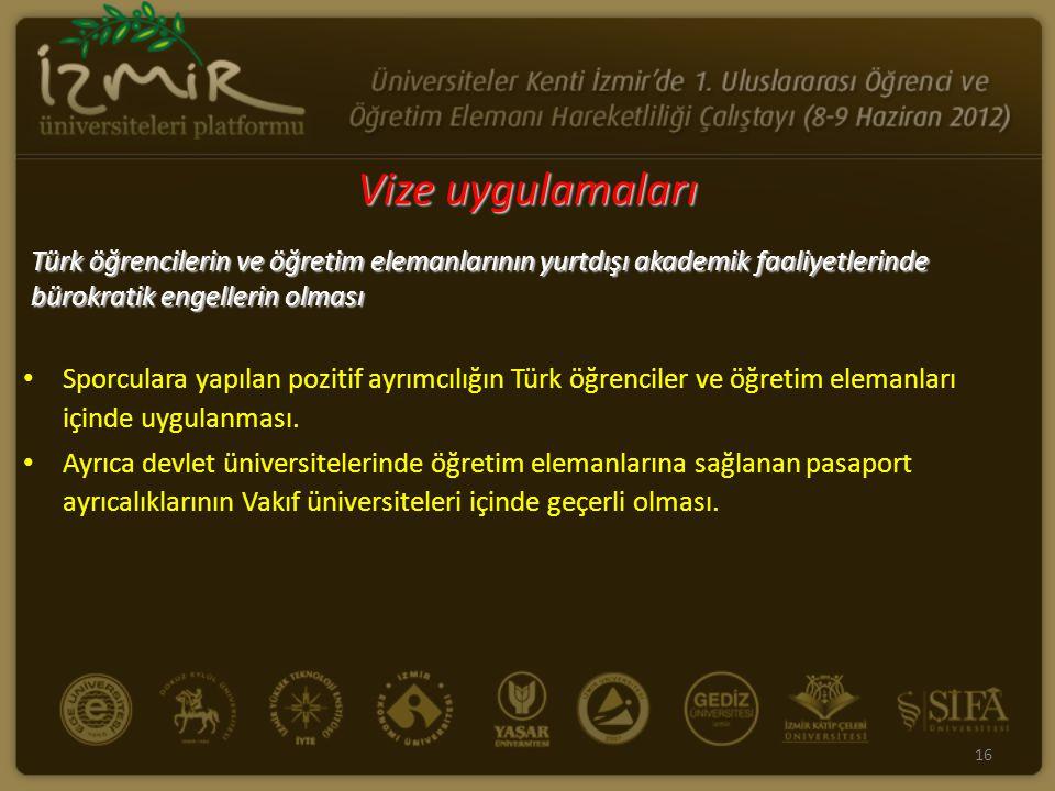 Vize uygulamaları Türk öğrencilerin ve öğretim elemanlarının yurtdışı akademik faaliyetlerinde bürokratik engellerin olması Sporculara yapılan pozitif