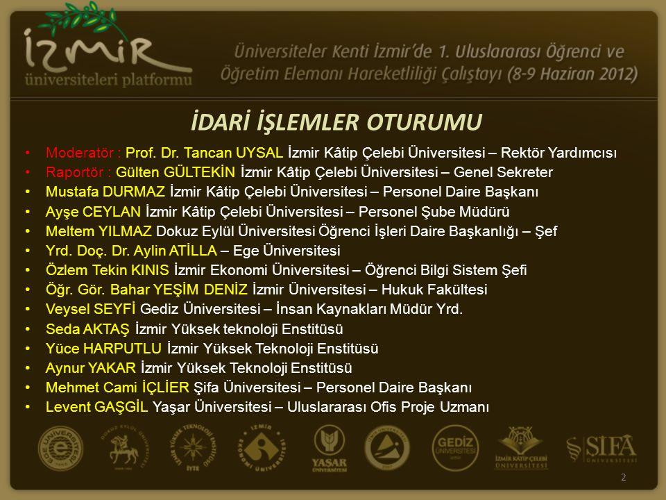 Moderatör : Prof. Dr. Tancan UYSAL İzmir Kâtip Çelebi Üniversitesi – Rektör Yardımcısı Raportör : Gülten GÜLTEKİN İzmir Kâtip Çelebi Üniversitesi – Ge