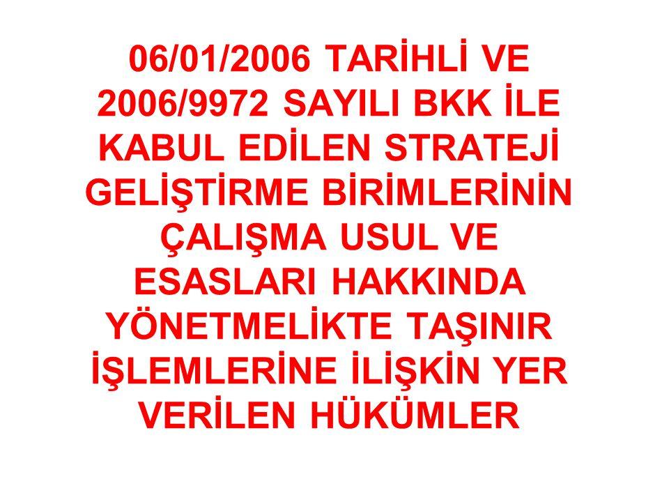 06/01/2006 TARİHLİ VE 2006/9972 SAYILI BKK İLE KABUL EDİLEN STRATEJİ GELİŞTİRME BİRİMLERİNİN ÇALIŞMA USUL VE ESASLARI HAKKINDA YÖNETMELİKTE TAŞINIR İŞLEMLERİNE İLİŞKİN YER VERİLEN HÜKÜMLER