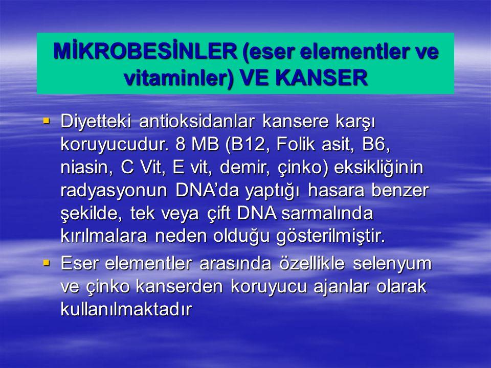 MİKROBESİNLER (eser elementler ve vitaminler) VE KANSER  Diyetteki antioksidanlar kansere karşı koruyucudur. 8 MB (B12, Folik asit, B6, niasin, C Vit