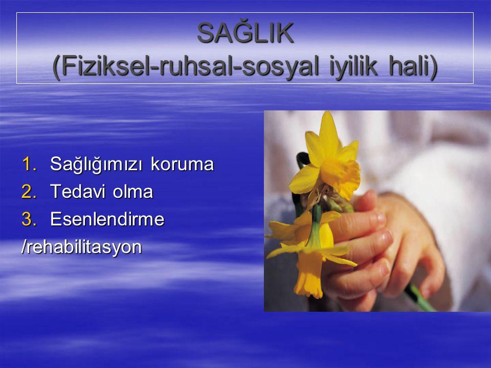 SAĞLIK (Fiziksel-ruhsal-sosyal iyilik hali) 1.Sağlığımızı koruma 2.Tedavi olma 3.Esenlendirme /rehabilitasyon